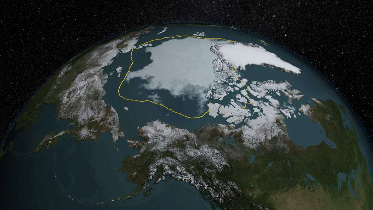 NASA caption: The 2015 Arctic sea ice summertime minimum is 699,000 square miles below the 1981-2010 average, shown here as a gold line. Credits: NASA/Goddard Scientific Visualization Studio