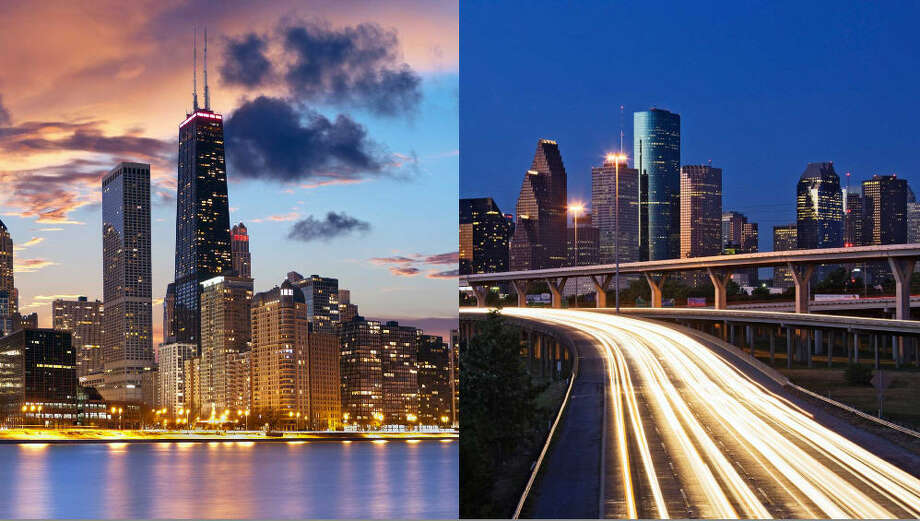 Chicago vs. Houston PopulationChicago: 2.7 millionHouston: 2.2 million**Houston is expected to surpass Chicago as the U.S.'s third-largest city by 2025. Photo sources: Fotolia / Getty Photo: File Photos