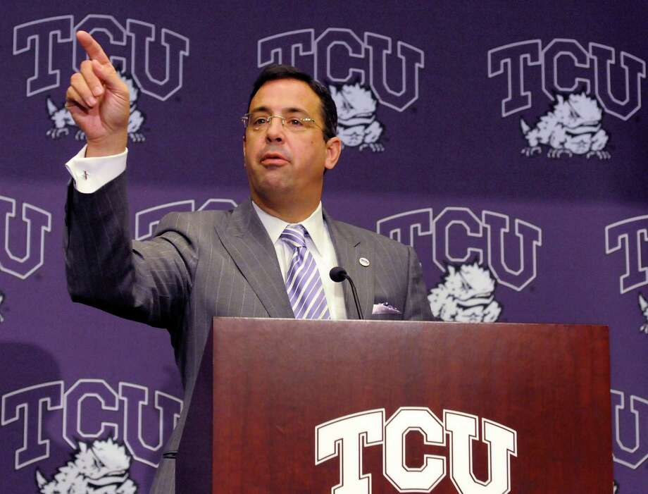 Chris Del Conte, athletic director at Texas Christian University, speaks to the press during a news conference on Nov. 29, 2010, in Fort Worth. Photo: Max Faulkner /Fort Worth Star-Telegram / Fort Worth Star-Telegram