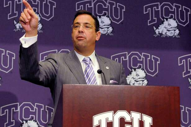 Chris Del Conte, athletic director at Texas Christian University, speaks to the press during a news conference on Nov. 29, 2010, in Fort Worth.