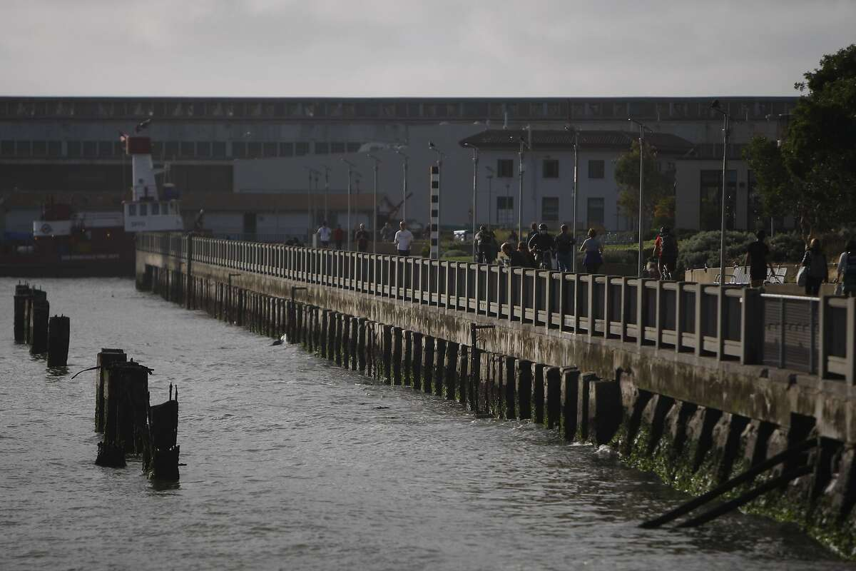 The sea wall that separates the bay from the Financial District is pictured in San Francisco, Ca. on Tuesday, September 15, 2015.