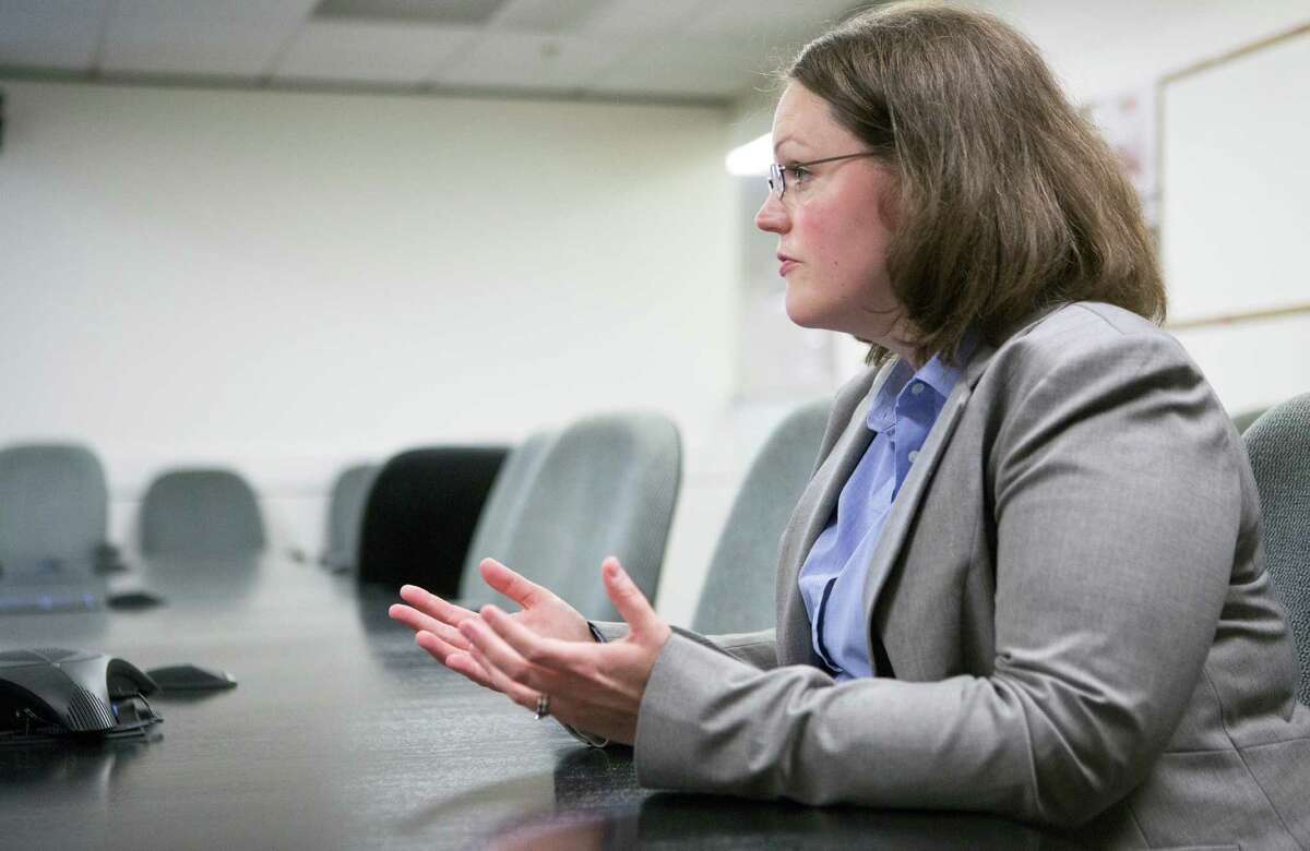 Zillow chief economist Svenja Gudell answers questions during an interview at the Houston Chronicle, Tuesday, Sept. 15, 2015, in Houston. (Cody Duty / Houston Chronicle)