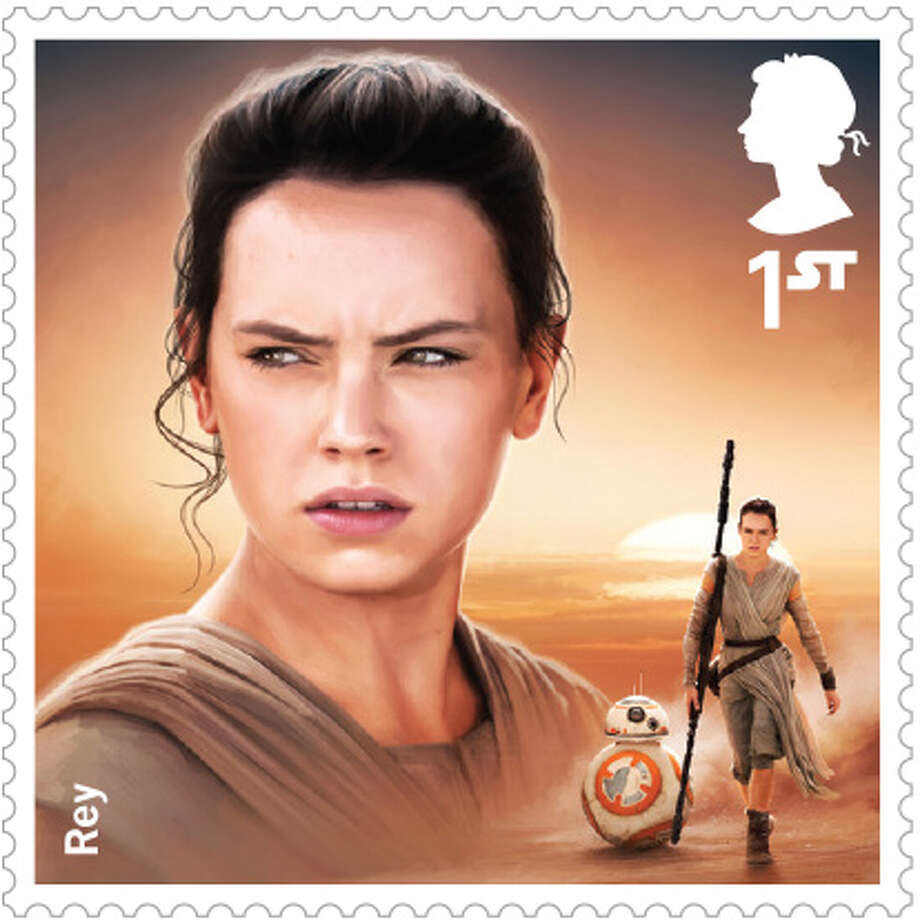 """The United Kingdom's Royal Mail is releasing a set of stamps for the new """"Star Wars"""" film. The Royal Mail descriptions of the stamps offer some tidbits about the new characters. About """"Rey,"""" they write: """"Three decades after the Battle of Endor, Rey makes a living by scavenging on the desert planet Jakku. However, she soon finds herself catapulted into the heart of a new crisis in the galaxy."""" Photo: Royal Mail"""