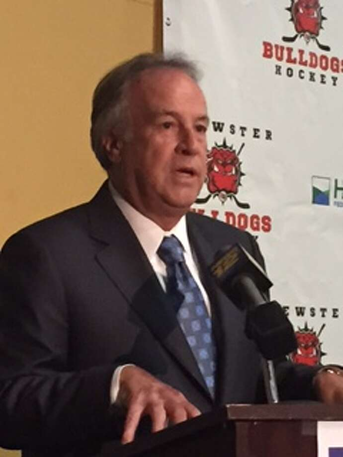Brewster Bulldogs co-owner Bruce Bennett addresses the media at a press onference at the Brewster Ice Arena Sept. 15, 2015. Photo: Rich Gregory / Rich Gregory / News-Times