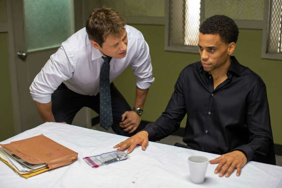 "In this photo provided by Sony/Screen Gems, Holt McCallany, left, as Detective Hansen, interrogates Michael Ealy as Carter in Screen Gems' ""The Perfect Guy."" (Dan McFadden/Sony/Screen Gems via AP) ORG XMIT: CAET285 Photo: Dan McFadden / Sony/Screen Gems"
