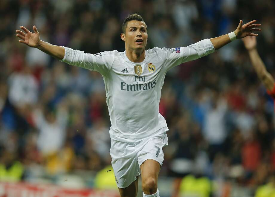 Real Madrid's Cristiano Ronaldo celebrates one of his three goals in Real Madrid's 4-0 victory. Photo: Paul White, Associated Press