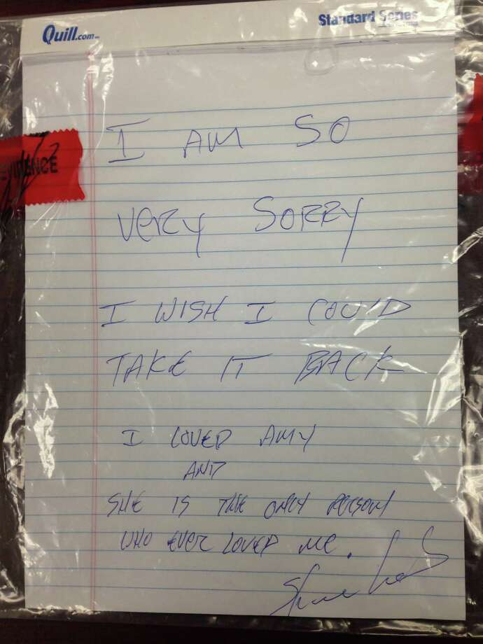 This note was found Monday at the house where Amy Prentiss' body was discovered. Photo: HOGP / Gautier, Miss Police