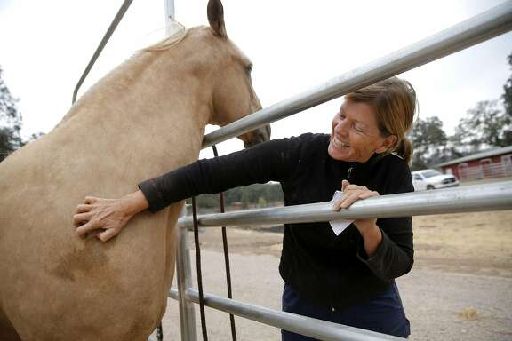 Cheryl Johnston, a Hidden Valley Lake resident, pets her horses at a stable in Hidden Valley Lake, California, on Tuesday, Sept. 15, 2015. Johnston saved several horses, fought spot fires and eventually stayed overnight in a barn Saturday night as the Valley Fire spread.