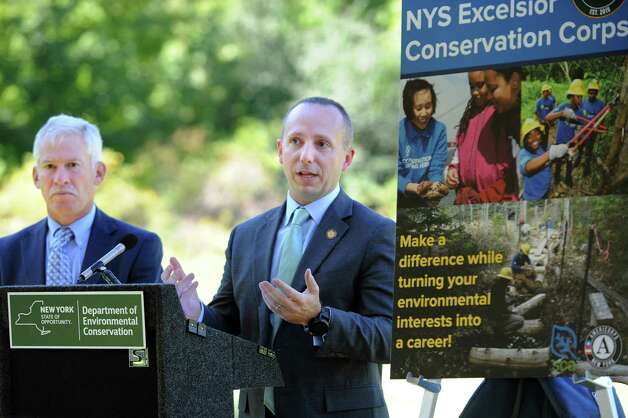 Basil Seggos, deputy secretary of the environment, right, and Marc Gerstman, acting commissioner of the Department of Environmental Conservation, take questions regarding an initiative for conservation and natural resource stewardship in the state on Tuesday, Sept. 15, 2015, at Five Rivers Environmental Education Center in Delmar, N.Y. (Cindy Schultz / Times Union) Photo: Cindy Schultz / 00033361A