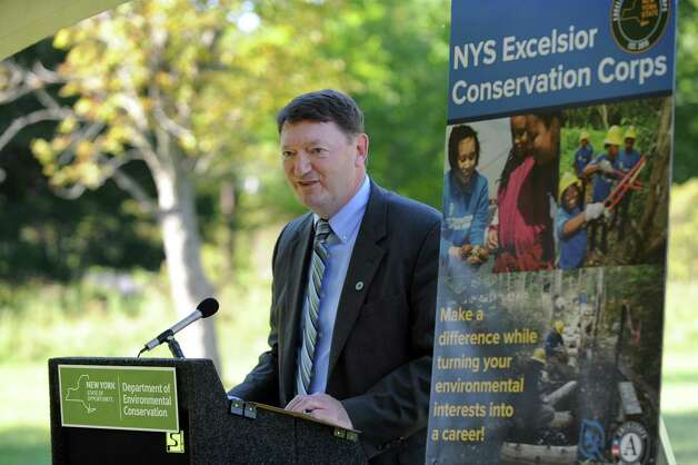 David Rogers, president of Morrisville State College, announces an initiative for conservation and natural resource stewardship in the state on Tuesday, Sept. 15, 2015, at Five Rivers Environmental Education Center in Delmar, N.Y. (Cindy Schultz / Times Union) Photo: Cindy Schultz / 00033361A