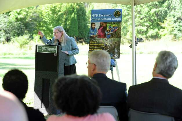 Hillarie Logan-Dechene, Chair of New York State Commission of National and Community Service, announces an initiative for conservation and natural resource stewardship in the state on Tuesday, Sept. 15, 2015, at Five Rivers Environmental Education Center in Delmar, N.Y. (Cindy Schultz / Times Union) Photo: Cindy Schultz / 00033361A