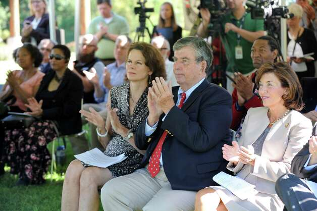 Lt. Gov. Kathy Hochul, right, Sen. Neil Breslin, center, and Assemblywoman Patricia Fahy join in applauding an initiative for conservation and natural resource stewardship in the state on Tuesday, Sept. 15, 2015, at Five Rivers Environmental Education Center in Delmar, N.Y. (Cindy Schultz / Times Union) Photo: Cindy Schultz / 00033361A