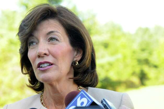 Lt. Gov. Kathy Hochul takes questions from the media following a news conference on Tuesday, Sept. 15, 2015, at Five Rivers Environmental Education Center in Delmar, N.Y. (Cindy Schultz / Times Union) Photo: Cindy Schultz / 00033361A