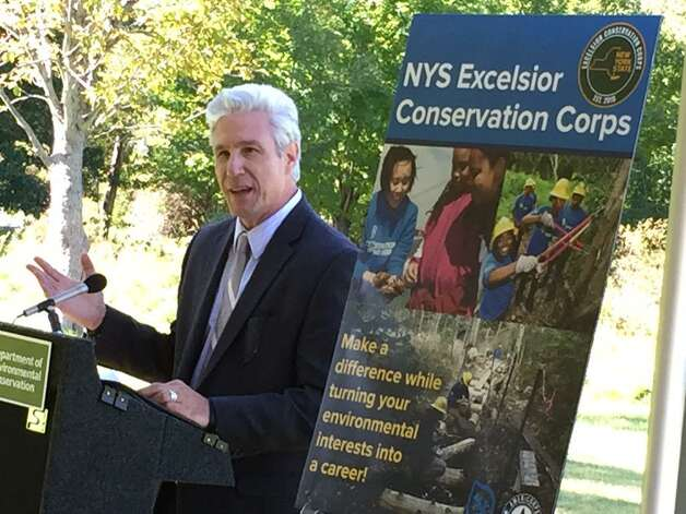 Deputy Parks Department Commissioner Tom Alworth talks about the launch of the state's Excelsior Conservation Corps at Five Rivers Environmental Center in Bethlehem. (Cindy Schultz / Times Union)