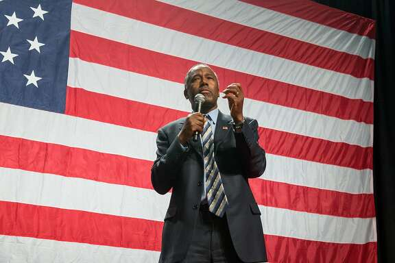 Presidential candidate Dr. Ben Carson speaks to more than 6000 people during a rally at the Anaheim Convention Center arena on in Anaheim, Calif., on Wednesday, Sept. 9, 2015. (Leonard Ortiz/The Orange County Register via AP)