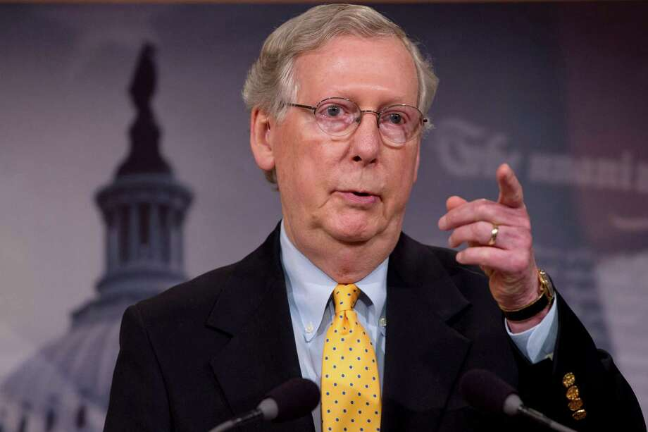 In this photo taken Aug. 6, 2015, Senate Majority Leader Mitch McConnell of Ky speaks during a news conference on Capitol Hill in Washington. Senate Republicans on Tuesday pushed for a final say on the Iran nuclear deal before the congressional review period expires, but Democrats were poised to stop any attempt to undercut the international accord and President Barack Obama's win on a top foreign policy initiative.  (AP Photo/Jacquelyn Martin) ORG XMIT: WX107 Photo: Jacquelyn Martin / AP