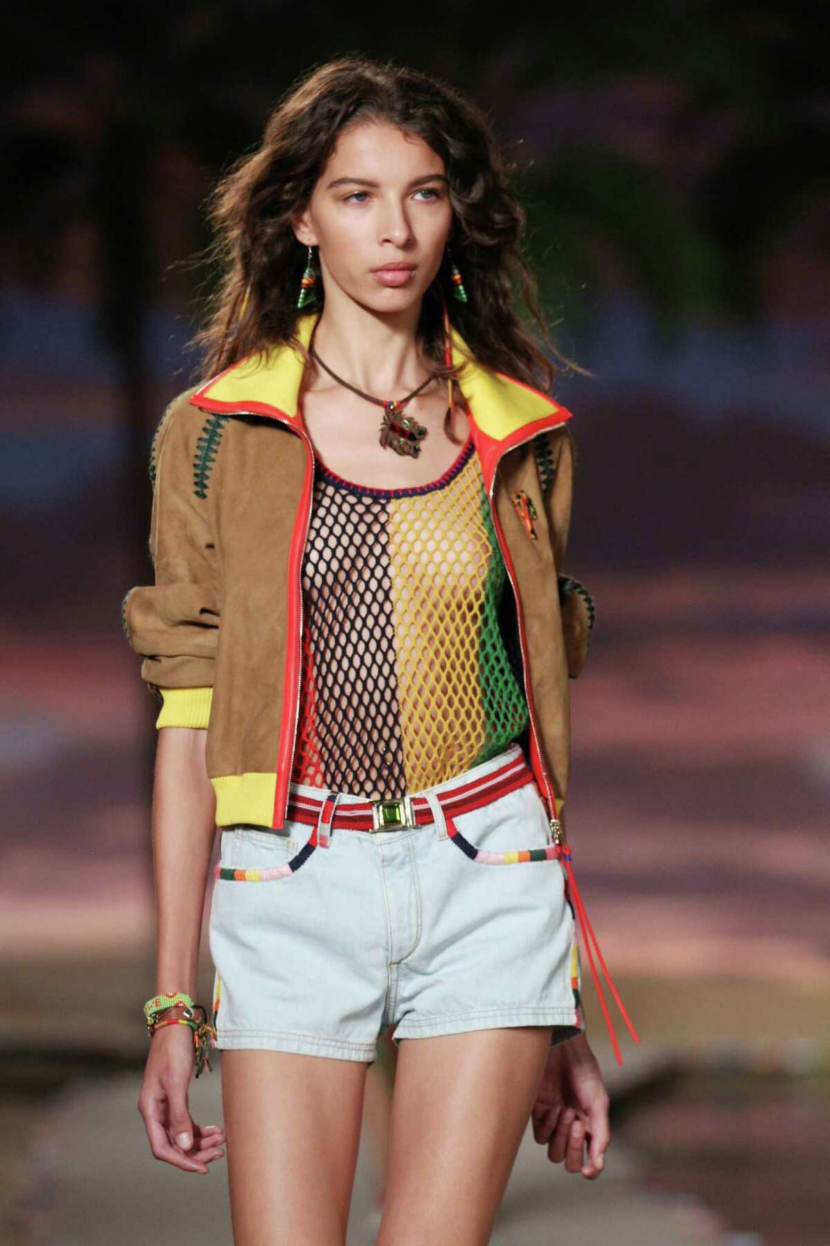 A model walks the runway during the Tommy Hilfiger Women's show as a part of Spring 2016 New York Fashion Week at Pier 36 on September 14, 2015 in New York City. (Photo by Antonio de Moraes Barros Filho/FilmMagic)