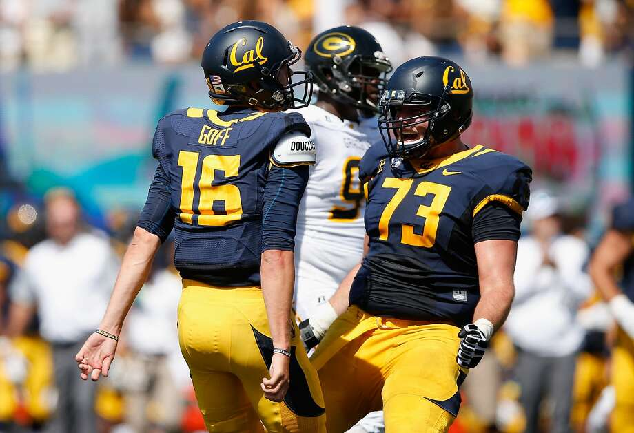 Jared Goff #16 of the California Golden Bears celebrates with Jordan Rigsbee #73 after the Bears scored a touchdown against the Grambling State Tigers at California Memorial Stadium on September 5, 2015 in Berkeley, California.  (Photo by Ezra Shaw/Getty Images) Photo: Ezra Shaw, Getty Images