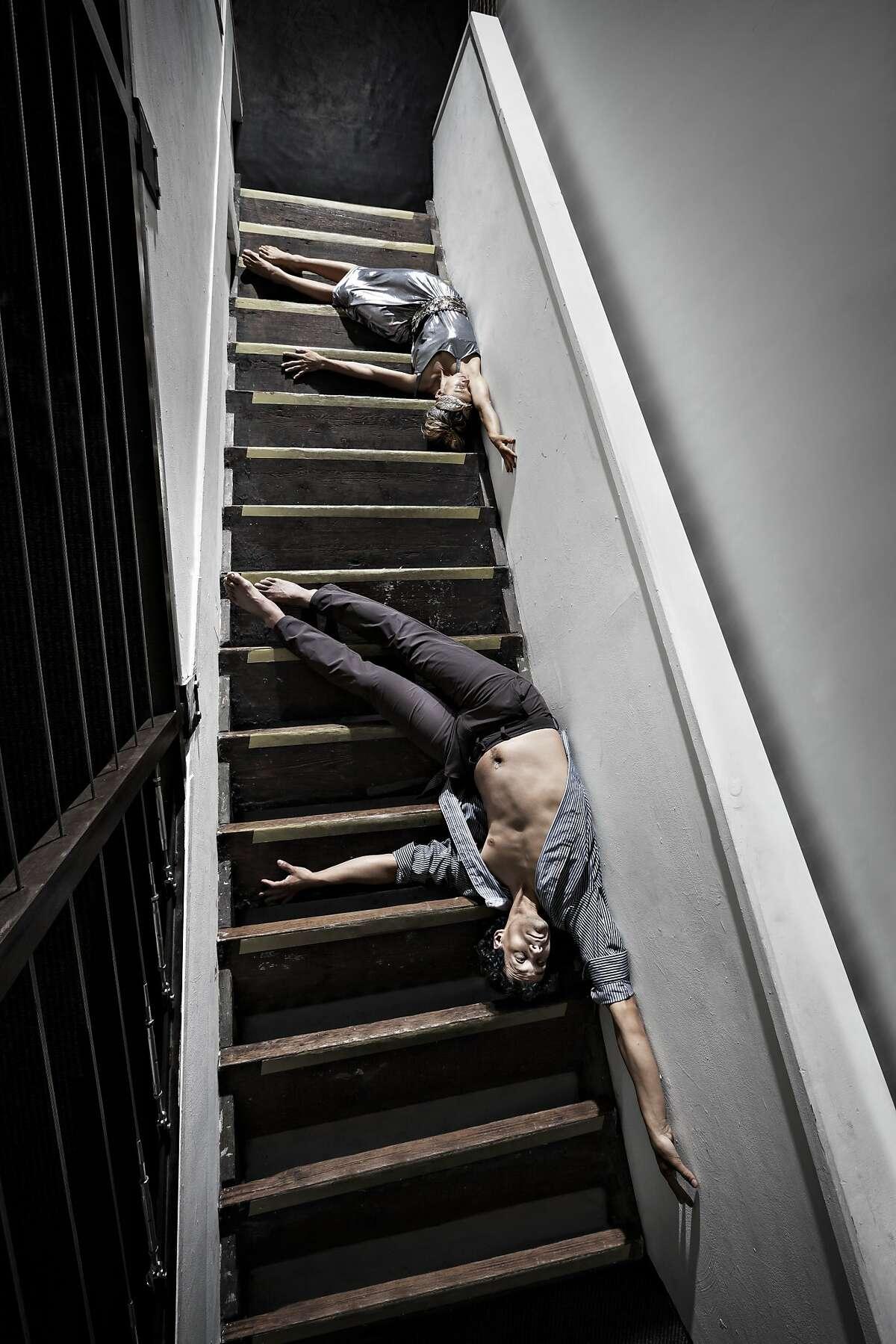 "Felipe Barrueto-Cabello and Marit Brook-Kothlow of the Joe Goode' Performance Group dance in Joe Goode's ""Poetics of Space"" at the Joe Goode Annex through Oct. 11. Photo by RJ Muna"