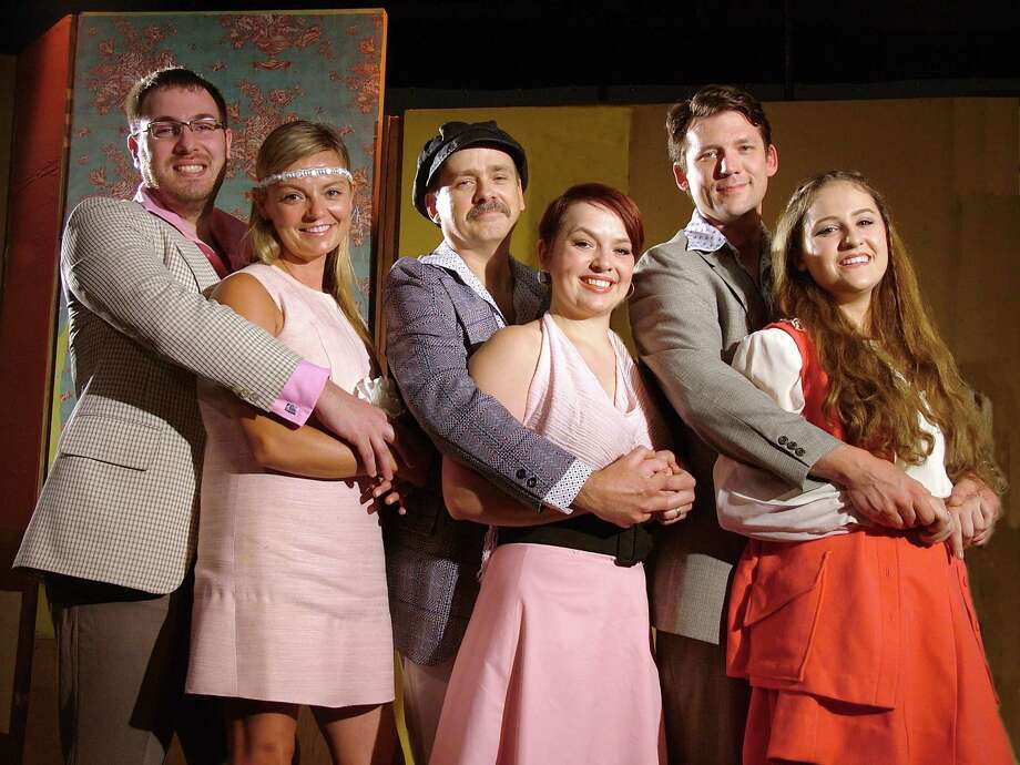 "Jim Norton, Samantha Pattinson, Norris Wakefield, Gabrielle Colangelo, Eric Sporborg and Holly Fasciano in the Westport Community Theatre production of ""They're Playing Our Song."" Photo: Contributed / Contributed Photo / Westport News"