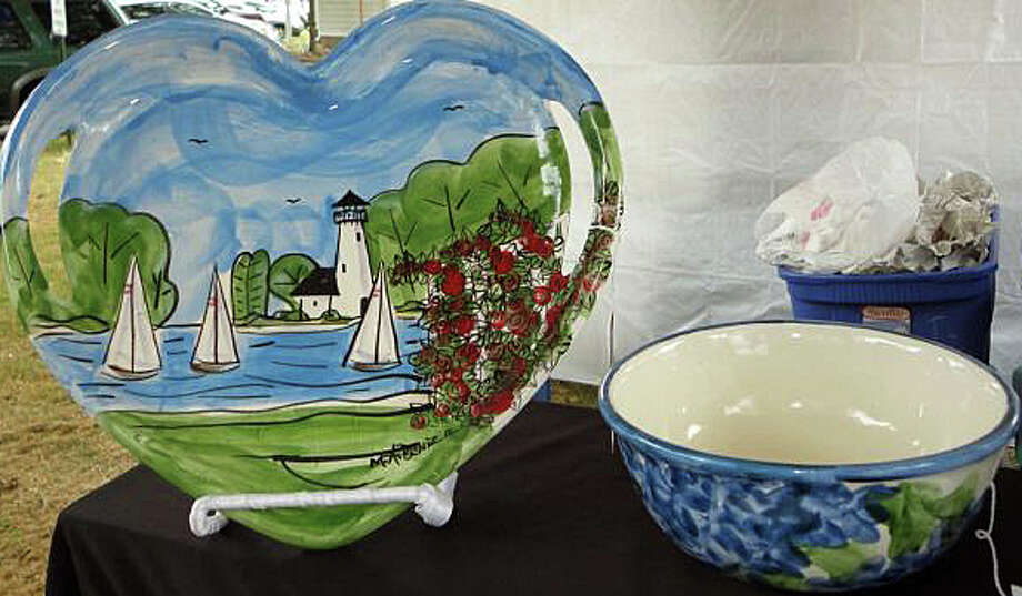Pottery like these pieces with maritime scenes will be among the wares on display at the Fairfield Kiwanis' Arts and Crafts Fair this weekend on Town Hall Green. Photo: File Photo / File Photo / Fairfield Citizen