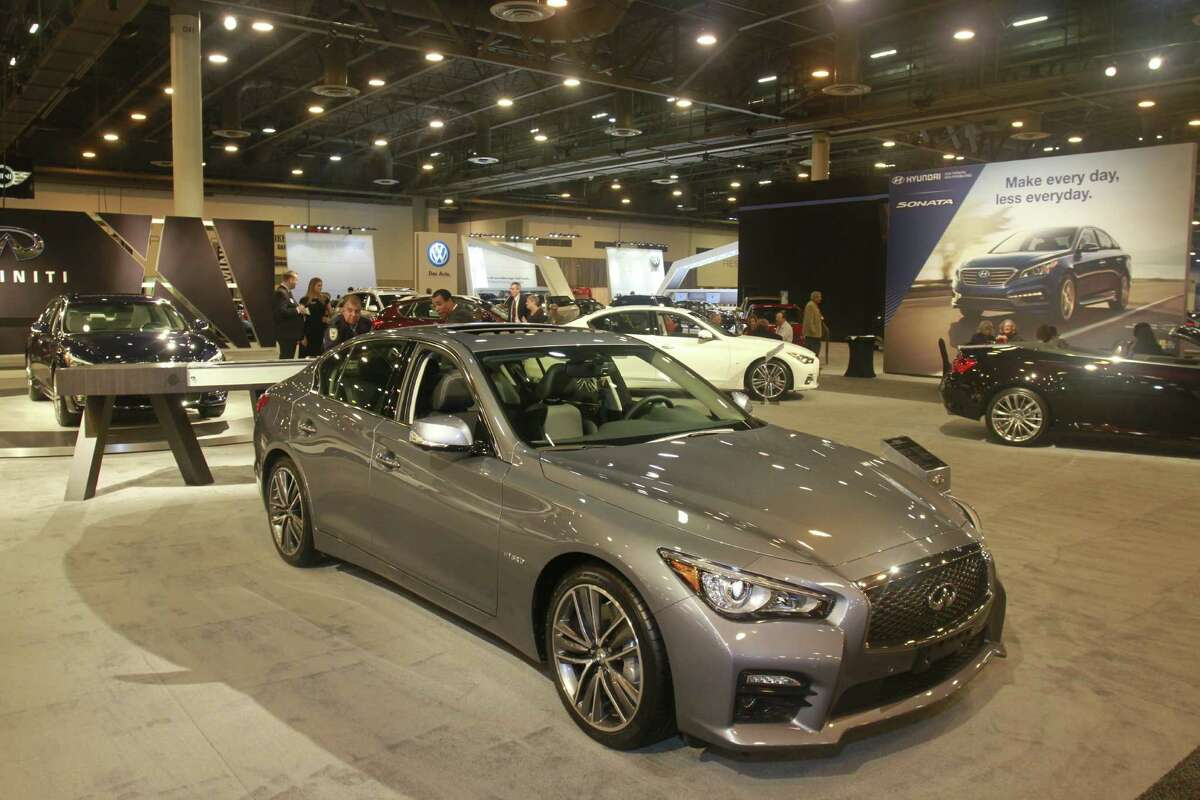 An Infinity Q50 hybrid on display in January 2015 at a Houston auto show. (For the Chronicle/Gary Fountain, January 20, 2015)