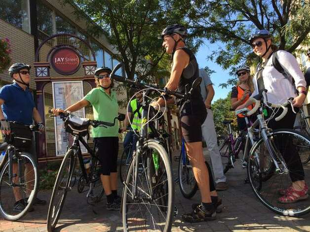 The 2015 Bicyclists Bring Business Bike-a-Round begins on Jay Street in Schenectady on Wednesday, Sept. 16, 2015. (Cindy Schultz/Times Union)
