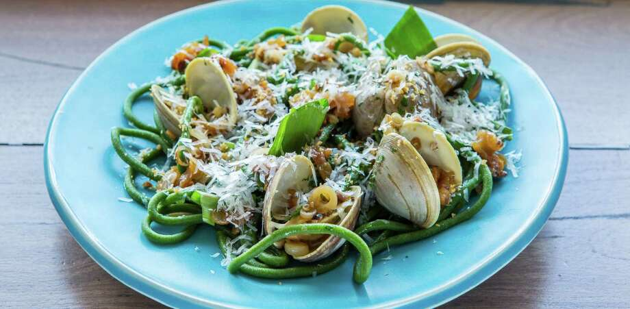 Here's a plate from the Pass: Ramp bucatini, clams, guanciale and parmesan.
