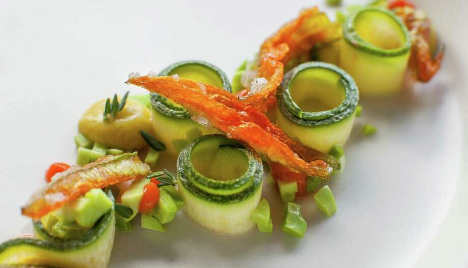 Marinated zucchini, squash blossoms and pureed fava beans at The Pass ...