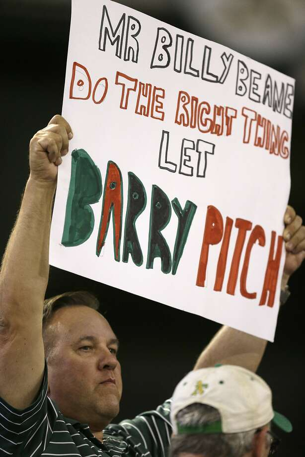 Oakland Athletics fan holds up a sign in reference to pitcher Barry Zito during a baseball game against the Houston Astros Wednesday, Sept. 9, 2015, in Oakland, Calif. Photo: Ben Margot, Associated Press