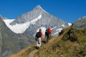 The hike to the Unterrothorn proves stirring views of other peaks in the region, such as the Weisshorn.