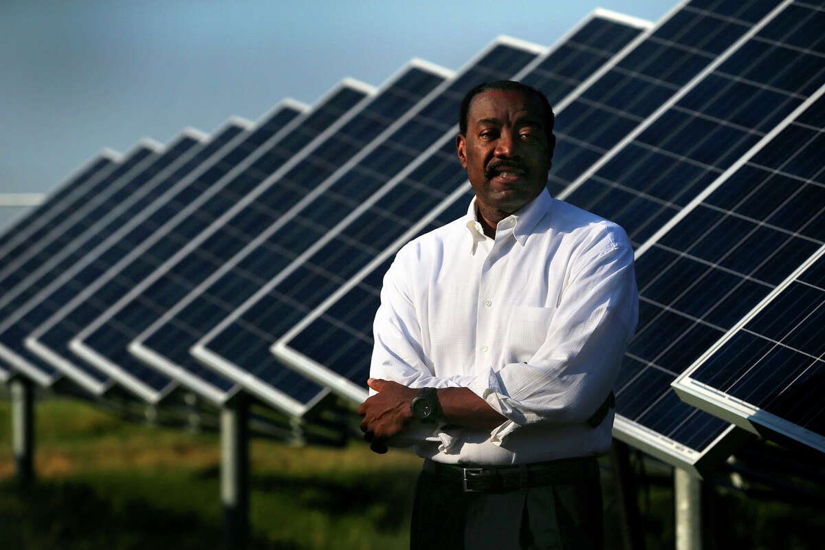 Doyle Beneby's new job will be CEO of New Generation Power International, an independent renewable energy company. He's shown at the Alamo 2 solar farm on Binz-Engleman Road. During his five years at CPS, Beneby pushed the city-owned utility toward using cleaner energy sources.