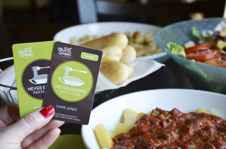 For seven weeks, from Oct. 5 through Nov. 22, Olive Garden Pasta Pass holders have access to never-ending pasta, homemade sauces, pasta toppings, soup or salad, breadsticks and soft drinks as many times as they would like. Photo: Courtesy Photo / Olive Garden