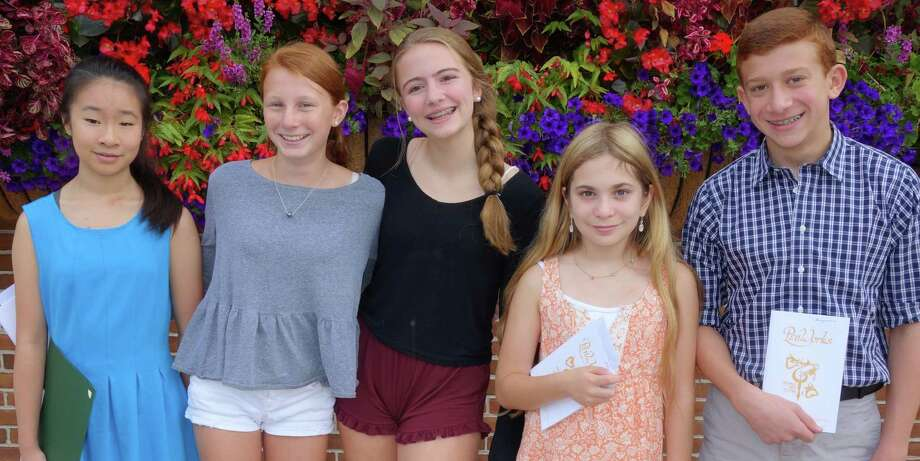 Westport students who won awards in the literary competition of the recent Trumbull Arts Festival include, from left, Lia Chen, Kelley Schutte, Ava Geismann, Lilly Weisz and Ben Schussheim. Photo: Contributed / Contributed Photo / Westport News