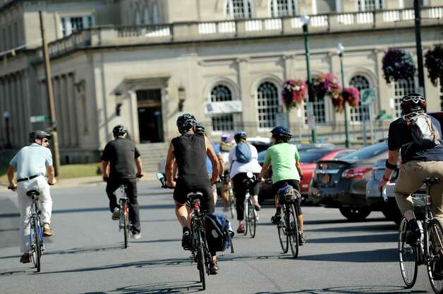 The bicycling community takes off on Jay Street for a Bike-a-Round to experience the city from the perspective of a cycling tourist on Wednesday, Sept. 16, 2015, in Schenectady, N.Y. (Cindy Schultz / Times Union) Photo: Cindy Schultz / 00033353A