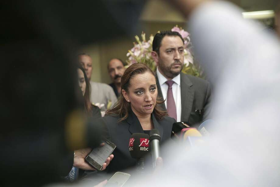 Mexico's Secretary of Foreign Relations Claudia Ruiz Massieu speaks to the media after visiting injured Mexican tourists at a Cairo hospital. Photo: Nariman El-Mofty, Associated Press