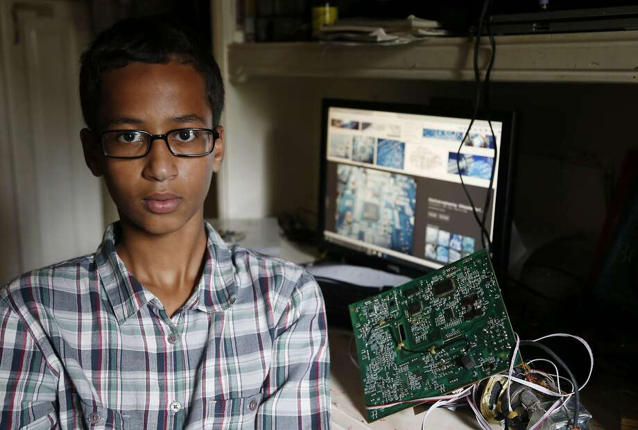 MacArthur High School student Ahmed Mohamed, 14, is a star on social media, with the hashtag #IStandWithAhmed tweeted nearly 750,000 times. Photo: Vernon Bryant, Associated Press