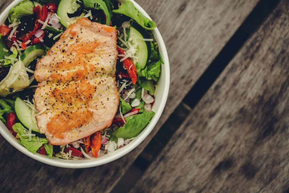 Salmon salad as served at Piada. The Columbus, Ohio-based chain serves casual Italian fare. Photo: Courtesy Photo, Piada