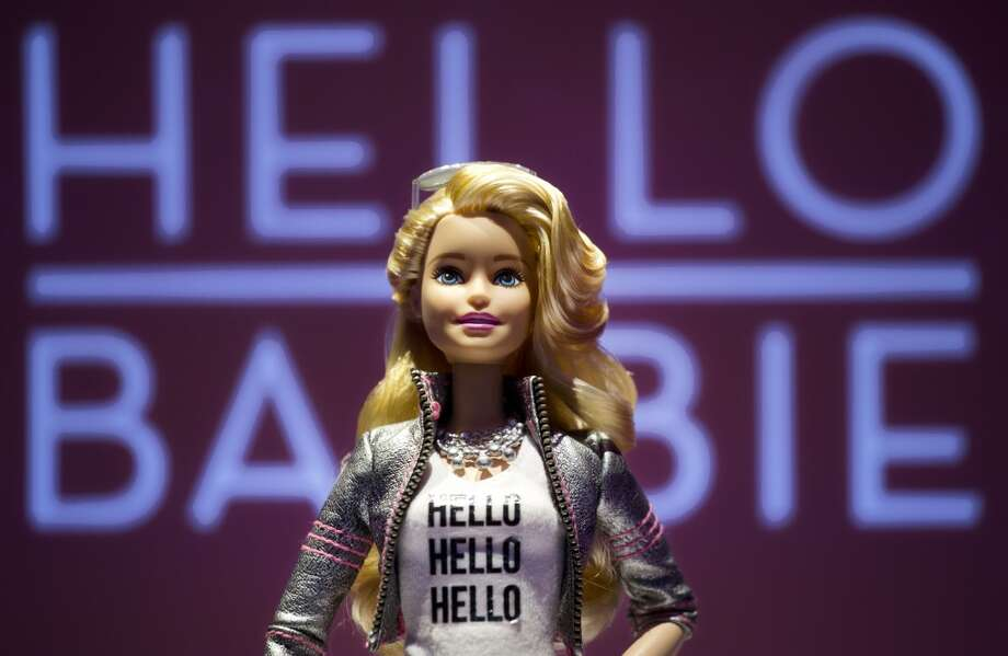 Hello Barbie is displayed at the Mattel showroom at the North American International Toy Fair, Saturday, Feb. 14, 2015 in New York. Mattel, in partnership with San Francisco startup ToyTalk, will release the  Internet-connected version of the doll that has real conversations with kids in late 2015. (AP Photo/Mark Lennihan) Photo: Mark Lennihan, Associated Press