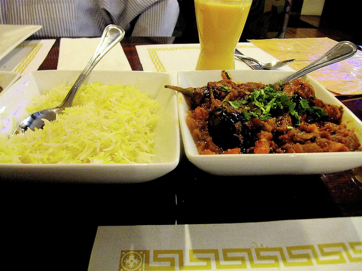 Baby eggplant dish with kalonji seeds at Great W'kana Cafe