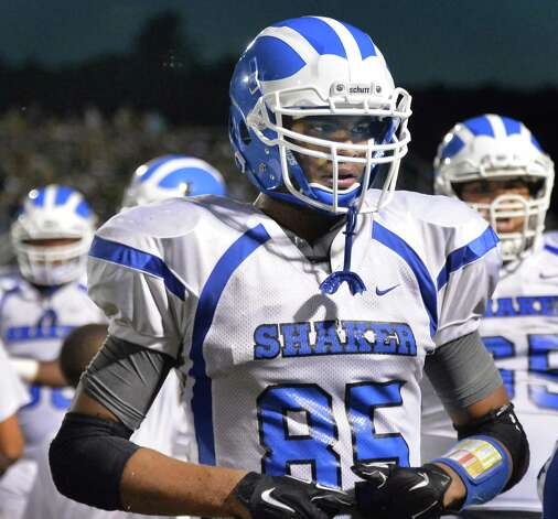 Shaker's #85 Brandon Barlow during Saturday night's game against Shenendehowa High Sept. 11, 2015 in Clifton Park, NY.  (John Carl D'Annibale / Times Union) Photo: John Carl D'Annibale / 00033300A