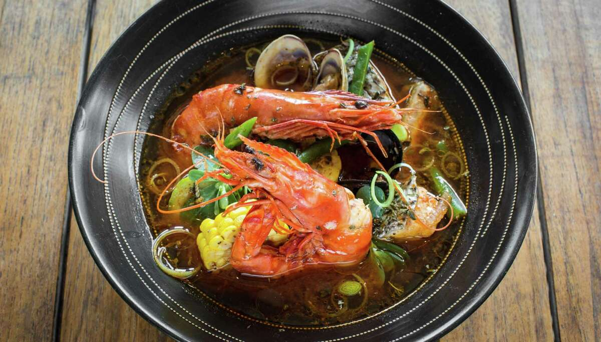 Caracol: Mole de Olla de Pescado y Camaron (Oaxacan fish and shrimp soup..