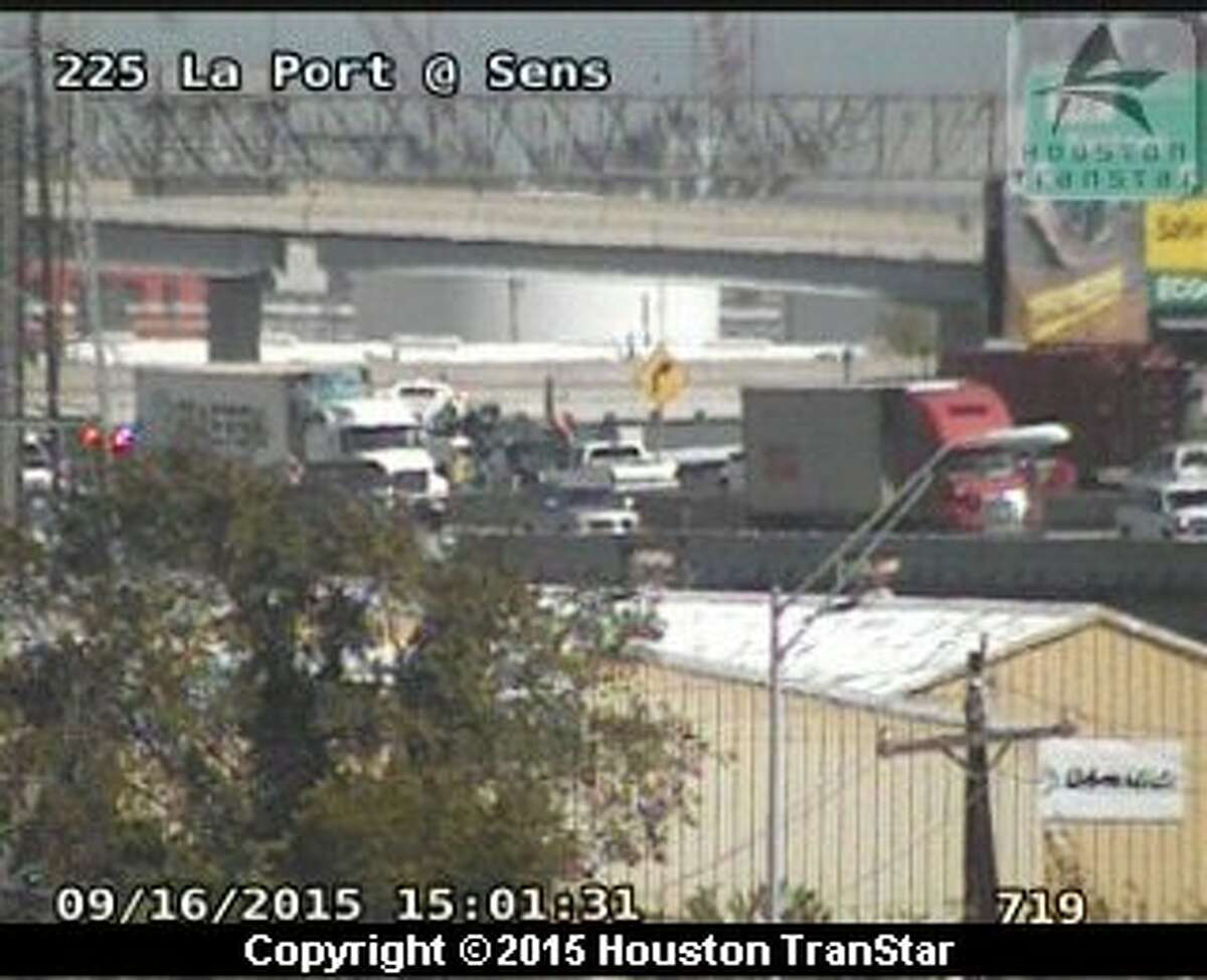 A two-vehicle accident involving a truck tied up mid-afternoon traffic on eastbound Texas 225 at Texas 146 in La Porte, Sept. 16, 2015.