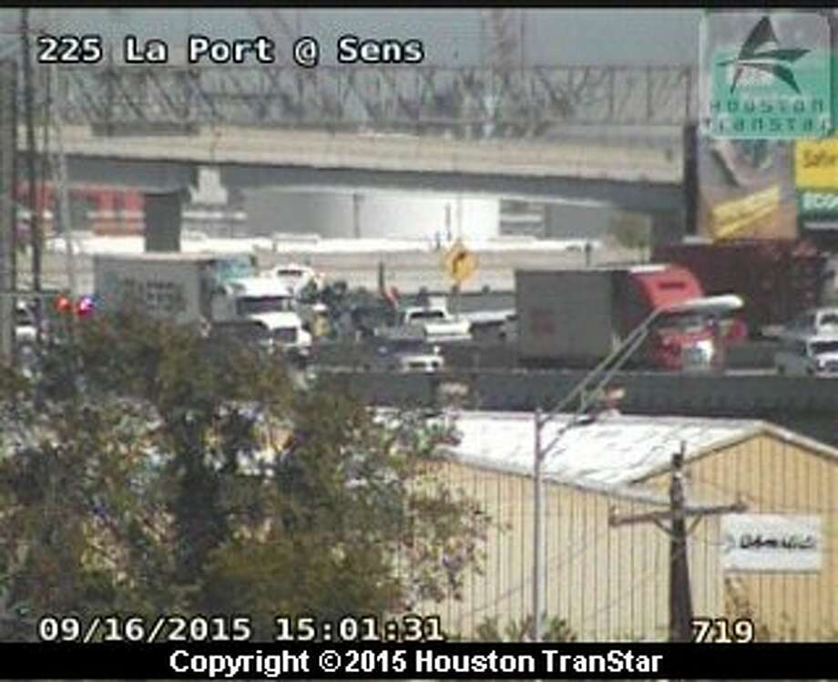 A two-vehicle accident involving a truck tied up mid-afternoon traffic on eastbound Texas 225 at Texas 146 in La Porte, Sept. 16, 2015. Photo: Via Houston TranStar