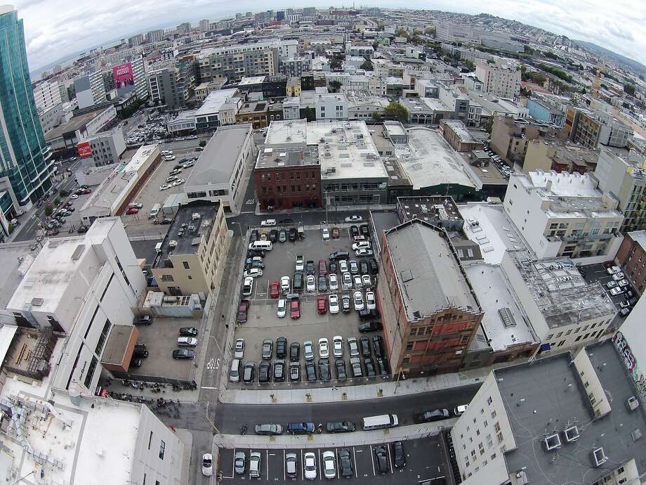 An image taken from a drone shows part of the proposed redevelopment site near Fifth and Mission streets. Photo: Erin Brethauer And Tim Hussin, The Chronicle