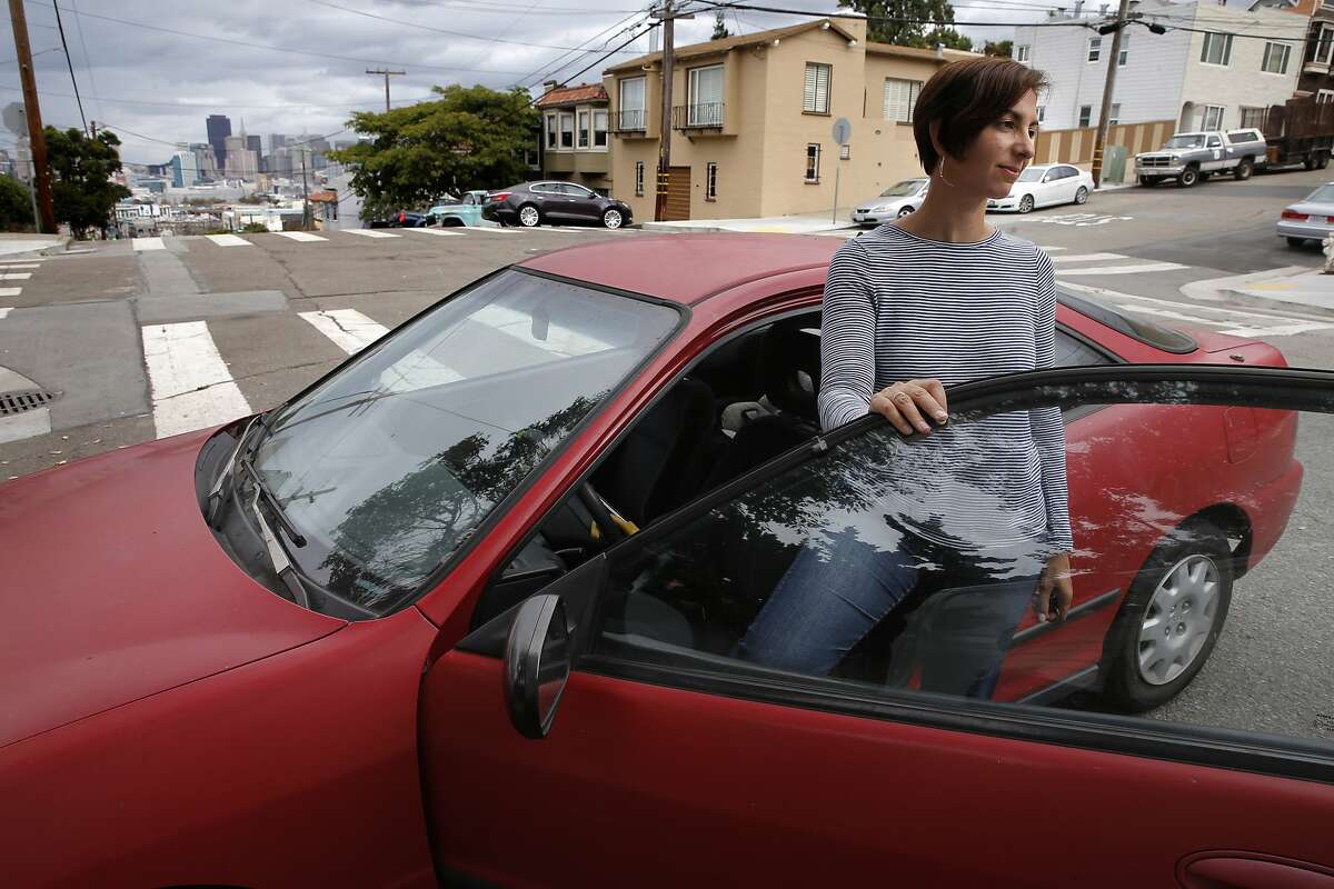 Galateia Kazakia in the Potrero Hill neighborhood, in San Francisco, Calif., on Wed. September 16, 2015, where she has had her 1994 Acura stolen twice in the last year and a half.