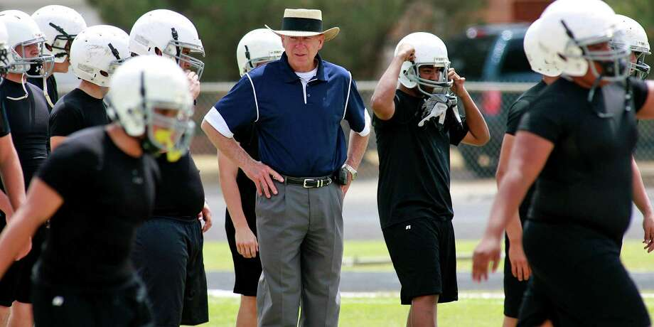 "In this photograph taken on May 21, 2009, Odessa Permian High School head football coach Gary Gaines watches a his players work out in Odessa, Texas. Gaines was the head coach of the 1988 Permian football team that was the focus of the H.G. Bissinger book ""Friday Night Lights: A Town, a Team and a Dream"" and the 2004 motion picture ""Friday Night Lights."" Photo: Kevin Buehler /Associated Press / FR155541 AP"
