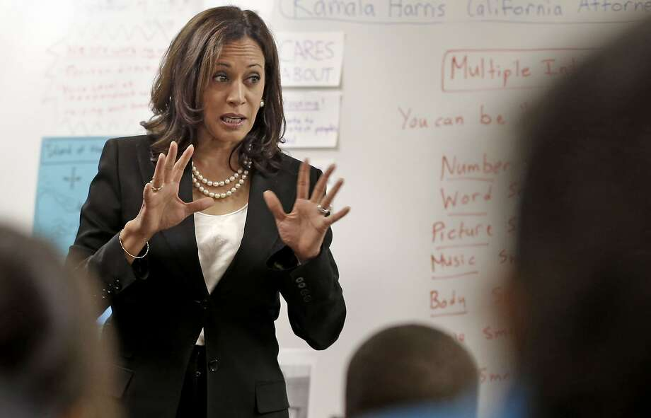 State Attorney General Kamala Harris speaks to a fifth-grade class during a visit to East Oakland Pride Elementary school in Oakland in September 2014. Harris' office issued a report Wednesday on elementary-school truancy rates across California. Photo: Michael Macor, The Chronicle