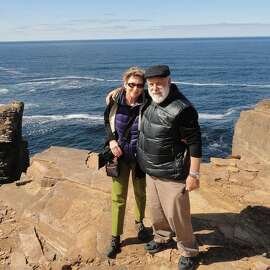 Maureen Barnato and husband, Bill Pelter, of El Sobrante at the cliffs of Yesnaby in the Orkneys, Scotland.