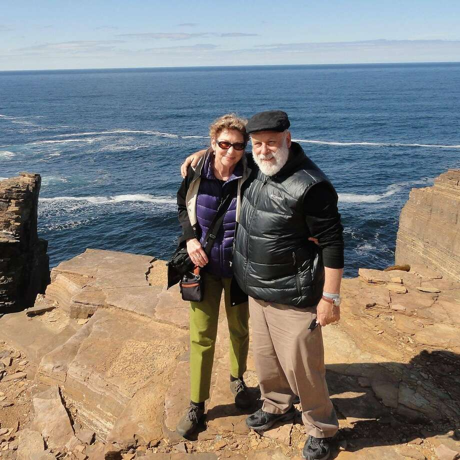 Maureen Barnato and husband, Bill Pelter, of El Sobrante at the cliffs of Yesnaby in the Orkneys, Scotland. Photo: Courtesy Maureen Barnato